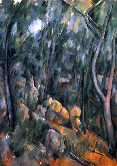 Cezanne, Paul: Forest with the Rock Caves Above the Chateau Noir. Fine Art Print/Poster. Sizes: A4/A3/A2/A1 (001022)
